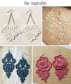 DIY Lace Earrings Inspiration - DIY Lace Earrings Inspiration - Get . - DIY lace earrings inspiration – DIY lace earrings inspiration – get applique and all your jewel - Fabric Jewelry, Beaded Jewelry, Handmade Jewelry, Diy Lace Jewelry, Earrings Handmade, Origami Jewelry, Recycled Jewelry, Metal Jewelry, Diy Lace Earrings