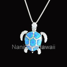 Sterling Silver Box Chain Necklace for sale online Hawaiian Fashion, Box Chain, Sterling Silver Necklaces, Opal, Bling, Diamond, Pendant, My Style, Sea Turtles
