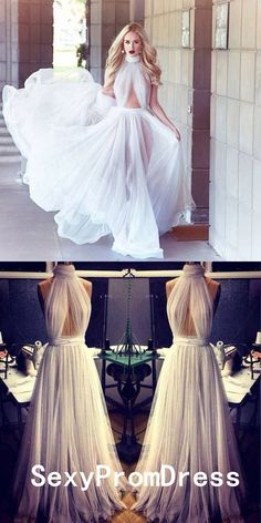 2018 A-line Cheap Long Sexy Simple Ivory High Neck Sleeveless Tulle Prom Dresses