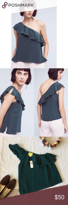NWT Maeve Silk One-Shoulder Blouse A silk one-shouldered ruffle blouse with a polyester lining. Elegant draping. Dark green color with a tinge of dusty blue. Great to show off statement earrings! Anthropologie Tops Blouses