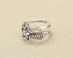 S925 Sterling Silver Jewelry Retro Thai Silver Five pointed star rings Personalized Bow and Arrow Rings [FP022] - $52.00 : Thailand Silver Jewelry- Silver Jewerly Gift Store Jewelry from Thailand