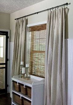 Curtains made from dropcloths. All four sides come pre-hemmed, so unless you need to alter the height, they are ready-to-hang. I have already used this idea in my laundry room and will do it again in other rooms. Easy to add embellishment, trims, fringe, stencils, etc.