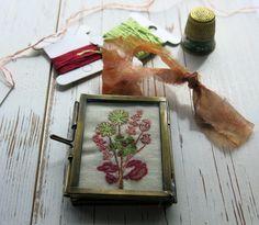 hand embroidery/framed embroidery/hand embroiderd/floral embroidery/miniture embroidery/hand stitched /fibre arts /uk sellers /kiko frame by itsaMessyNest on Etsy