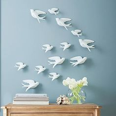 Set of Five Birds of Flight Wall Art.  Order 2 or 3 sets? For the huge wall up above separating the den and kitchen nook?