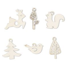 Economical fiberboard drops have multiple uses. Their light weight makes them great for earrings and for multiple layering on necklaces. Shapes can include squirrel, bird, leaf and more.
