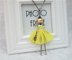 Cheap Pendant Necklaces, Buy Directly from China Suppliers:2014 New Arrival the grid yarn Feather Dress Doll Pendants Necklace In Aliexpress hot sale Sweater chain or bag charms R