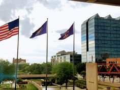 Gene Leahy Mall,  observed from inside the main library downtown Omaha Nebraska