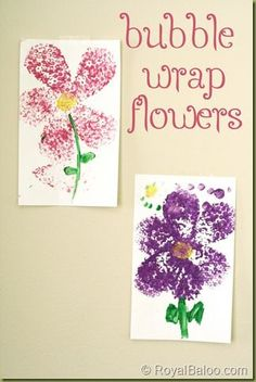 Bubble wrap flower painting - 16 Flower Crafts roundup - A Little Craft in Your Day