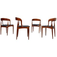 Set of Four Danish Modern Teak and Leather Dining Chairs by Johannes Andersen
