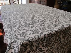 Table Cloth #27 Gray and White Ornate Design, Extra Large, Up Cycled Fabric