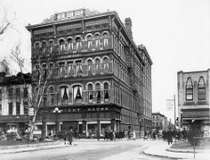 """An early shot of The Right House, with just a glimpse of Woolworths and Kresges."" Built in opening in 1893 as Hamilton's first large department store Hamilton Ontario Canada, Dundas Ontario, Site History, Countries Of The World, Ottawa, Street View, Department Store, City, Building"
