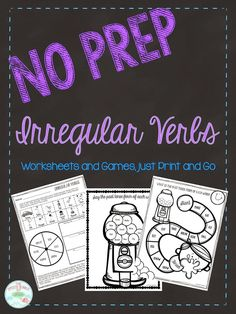 Working on irregular past tense verbs can be fun using these engaging, no prep worksheets!-Pages 3 is a multi-task worksheet. This worksheet has students stating the irregular past tense forms of the words on the page. This worksheet is great for homework Speech Language Pathology, Speech And Language, Language Arts, German Language, Japanese Language, Spanish Language, French Language, Speech Therapy Activities, Language Activities