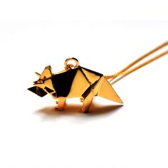 Origami triceratops necklace by Origami Jewellery