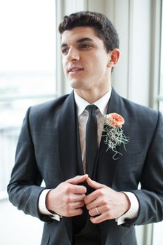 Peach boutonniere // photo by http://www.alexisjuneweddings.com, see more: http://theeverylastdetail.com/2013/10/01/modern-nautical-peach-gray-wedding-inspiration/