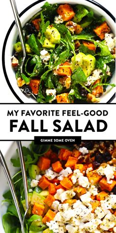 LOVE this Feel-Good Fall Salad! It's made with roasted sweet potato avocado arugula goat cheese nuts dried cranberries and tossed with a simple lemon dressing. It's the perfect healthy autumn dinner recipe and always so delicious. Salade Healthy, Healthy Salads, Healthy Eating, Simple Salads, Clean Eating Salads, Healthy Food Recipes, Whole Food Recipes, Cooking Recipes, Best Salad Recipes