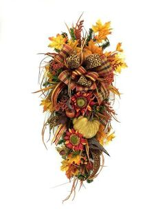 Fall Teardrop Swag Fall Decor Autumn Decor by SouthernCharmWreaths Fall Deco Mesh, Halloween Deco Mesh, Deco Mesh Wreaths, Fall Wreaths, Wreaths For Sale, How To Make Wreaths, Fall Door Decorations, Thanksgiving Decorations, Fall Swags