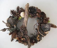All Season Wreath With Cones and Dried Seed by BeacheryDesigns