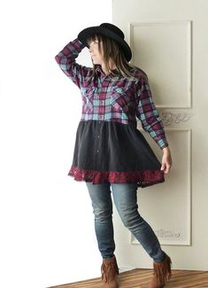 Womens upcycled plaid flannel shirt burgundy mint size