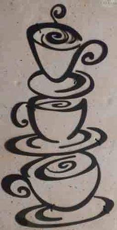 Coffee Stack Cup Metal Silhouette Wall Art See Details Below | eBay
