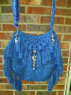 Handmade Hippie Gypsy Boho Bag Purse All Hand Crochet Denim Look Tassels Hippie Purse, Hippie Gypsy, Fringe Purse, Denim Bag, Crochet Purses, Hand Crochet, Purses And Bags, Tassels, Projects