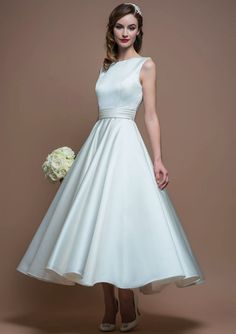 Tea Length Ivory Satin Sleeveless Bateau A-line Simple Wedding Dress