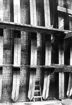 Titanic's steel hull framing.