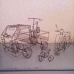 #wireart #wiresculpture #wirecraft #wirework #wire #handmade #tricycle #truck… Junk Art, Art Sculptures, Wire Crafts, Beads And Wire, Wire Art, Tricycle, Stone Jewelry, Truck, Stones