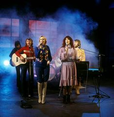 """Directly from England ABBA came to Germany(Bremen) to made promotion for both their new SP """"Take A Chance On Me"""" and """"ABBA The Movie"""". They performed in the TV show """"Auf laufenden Band"""".Rehearsals on February 3, 1978."""