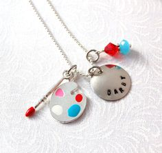 Personalized Silver Plated Custom Hand stamped Charm Necklace . ARTIST PAINT PALETTE, Swarovski Crystal. $20.00, via Etsy.