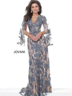 Jovani 00752 | Navy Nude Lace Cape Sleeve mother of the bride Evening Dresses With Sleeves, Long Evening Gowns, Lace Dress With Sleeves, Formal Evening Dresses, Formal Dress, Long Gowns, Mother Of The Bride Dresses Long, Mother Of Bride Outfits, Mothers Dresses