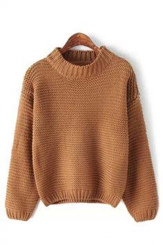 Plain High Collar Long Sleeve Pullover Sweater