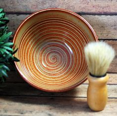 Ceramic Shaving Bowl and Brush Set  Shave Cup  by MudFirePottery
