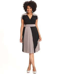 Alfani Plus Size Dress, Short-Sleeve Colorblocked Pleated - Plus Size Dresses - Plus Sizes - Macy's