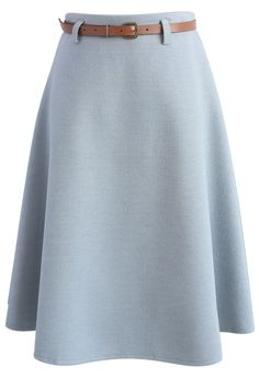 Mild Dusty Blue Wool-blend A-line Skirt - New Arrivals - Retro, Indie and Unique Fashion