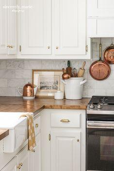 Our Lived In Kitchen Refresh Kitchen Dining, Kitchen Cabinets, Kitchen Modern, Butcher Block Countertops Kitchen, Timeless Kitchen, Apron Sink Kitchen, Gray Cabinets, Country Kitchen, Dining Room