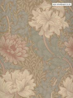 Morris & Co Wallpaper Chrysanthemum Wallpaper For Sale, Fabric Wallpaper, Sticky Back Plastic, Old Wall, Soft Autumn, William Morris, Chrysanthemum, Designer Wallpaper, Color Schemes