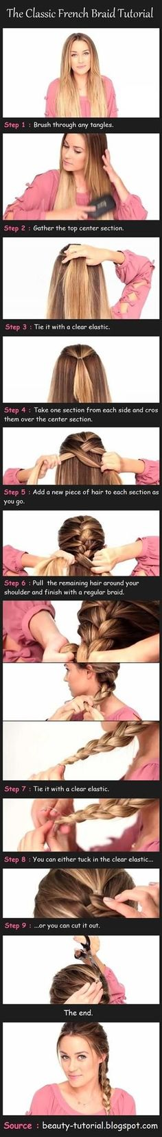 Great trick to french braiding your own hair... I've always wanted to know how to French braid