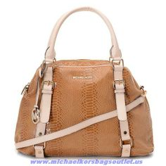 Authentic Michael Kors Python-embossed Leather Bowling Bag Brown Sale Online