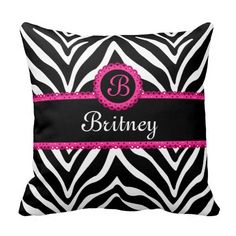 Shop Hip Zebra Print and Lace Monogram Throw Pillow created by SocialiteDesigns. Monogram Pillows, Monogram Gifts, Custom Pillows, Decorative Throw Pillows, Zebra Print Bedding, Textiles, Christmas Gifts For Her, Designer Throw Pillows, My New Room