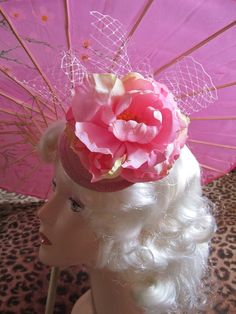 Fascinator Hat  Pink Peony by rascalkosher on Etsy, $25.00