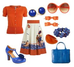"""""""Sunday Diving"""" by jemimabean ❤ liked on Polyvore featuring Eva Franco, J by Jasper Conran, Dorothy Perkins, Miz Mooz, Forever 21, Uncommonly Beautiful, Paige Denim, vintage inspired, orange and blue"""
