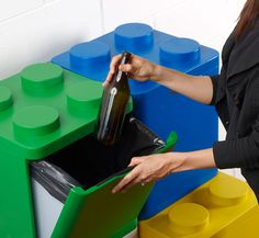 Leco by Flussocreativo. A fun way to recycle. The collection is made up of four different containers: two large ones to hold paper and plastic, and a couple smaller ones for aluminum and glass.