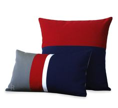 OUTDOOR Colorblock Pillow Set of 2  Gray Red by JillianReneDecor