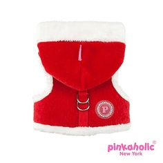 Pinkaholic Santa's Pinka Holiday Red Plush Polar Fleece lined in Metallic Red Check Plaid with Contrasting Supersoft Faux Fur trimmed Hoodie.