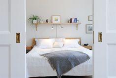 Nice idea for lightening your headboard !; Love this,, shelf headboard idea.
