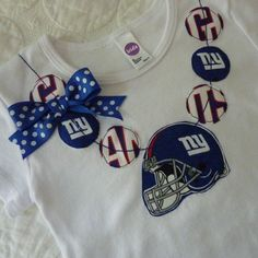 New York Giants Football Necklace Onesie Shirt for Anna