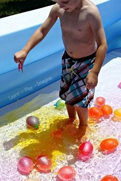 Fill water balloons with colored water and pop them in a pool of water to watch the colors mix.  Kids will be delighted as the colors change right before their eyes!