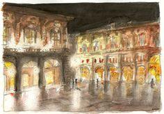 Acquarello. Bologna, Piazza Maggiore di notte.