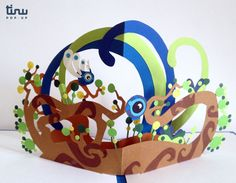 """""""To protect themselves, the World-Trees decide to use their roots to create little creatures: the Buds."""" Fly'n - flowers, paper pop-up card, by tinu pop-up."""