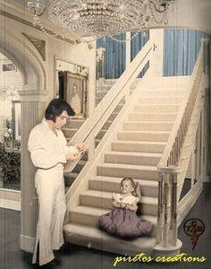 Elvis and Lisa Marie Presley at Graceland, 1970s.